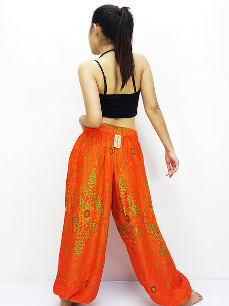 SRT@39 Rayon Bohemian Trousers Hippie Boho Pants Orange, NaughtyGirl, HaremPantsThai