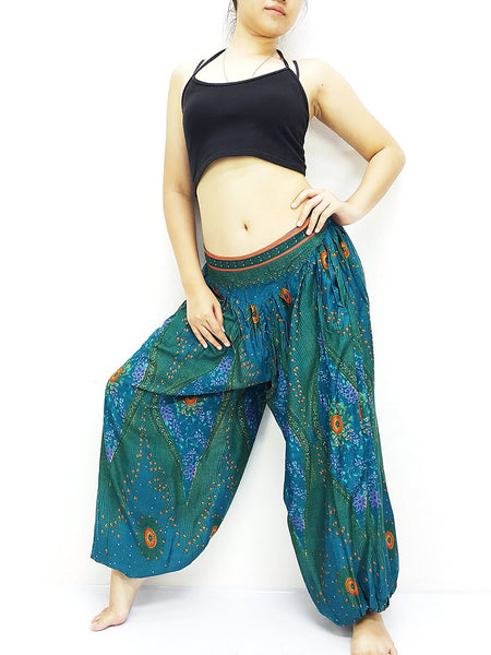 SRT@43 Thai Women Clothing Comfy Rayon Bohemian Trousers Hippie Baggy Genie Boho Pants Petrol Teal