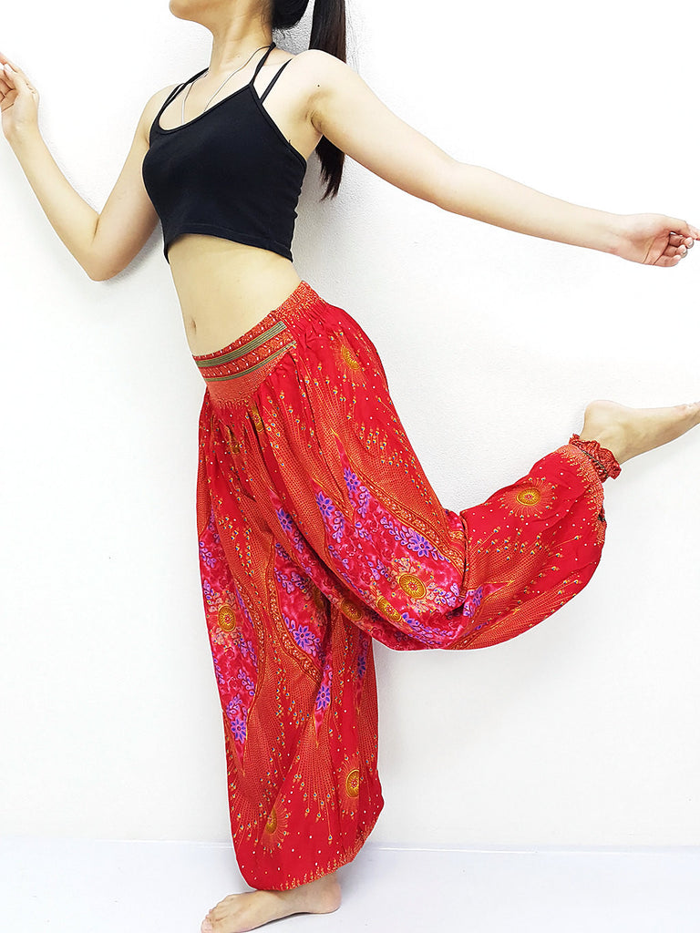SRT@44 Thai Women Clothing Comfy Rayon Bohemian Trousers Hippie Baggy Genie Boho Pants Red