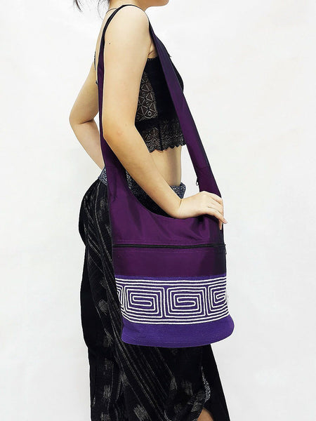 CSB7 - Hobo Boho bag Cotton bag Shoulder bag Sling bag Crossbody bag Amethyst, VeradaShop, HaremPantsThai