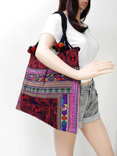 Thai Hill Tribe Bag Hmong Thai Cotton Bag Hippie Boho Shoulder Bag (Pink Red)