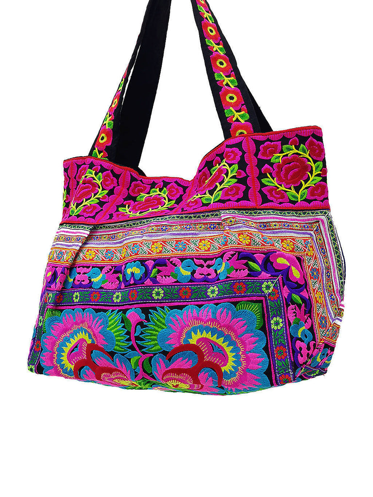 HTB2-1 Thai Hill Tribe Bag Embroidered Ethnic Cotton Bag Tote Bag Shoulder Bag