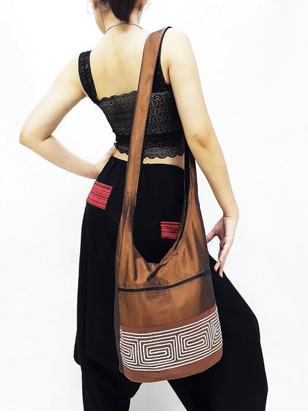 CSB9 - Hobo Boho bag Cotton bag Shoulder bag Sling bag Crossbody bag Brown, VeradaShop, HaremPantsThai