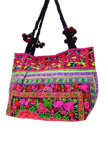 HTB2P3 - Thai Hill Tribe Bag Cotton Bag Embroidered Ethnic Shoulder Bag Flower