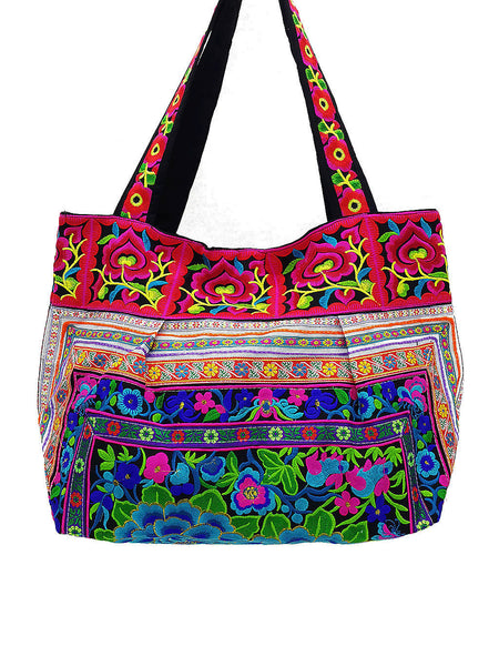 HTB2-5 Thai Hill Tribe Bag Embroidered Ethnic Cotton Bag Tote Bag Shoulder Bag