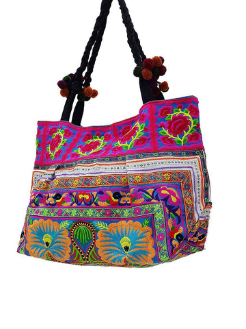 HTB2P2 - Thai Hill Tribe Bag Cotton Bag Embroidered Ethnic Shoulder Bag Flower