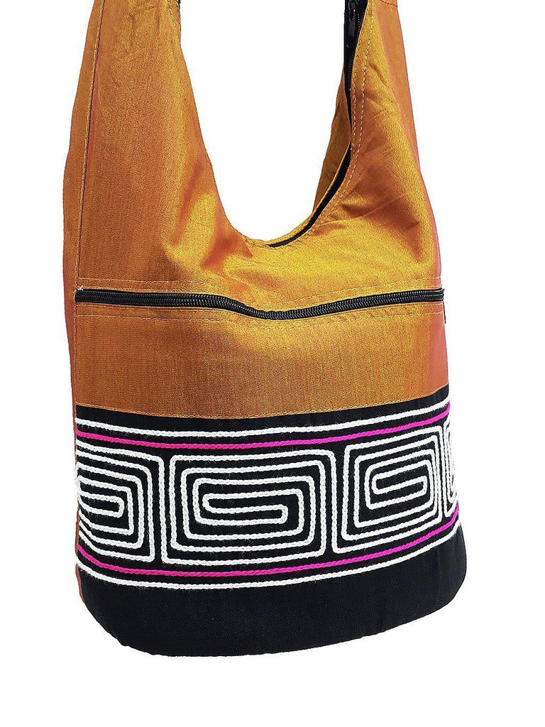 CSB10 - Hobo Boho bag Cotton bag Shoulder bag Sling bag Crossbody bag Yellow, VeradaShop, HaremPantsThai