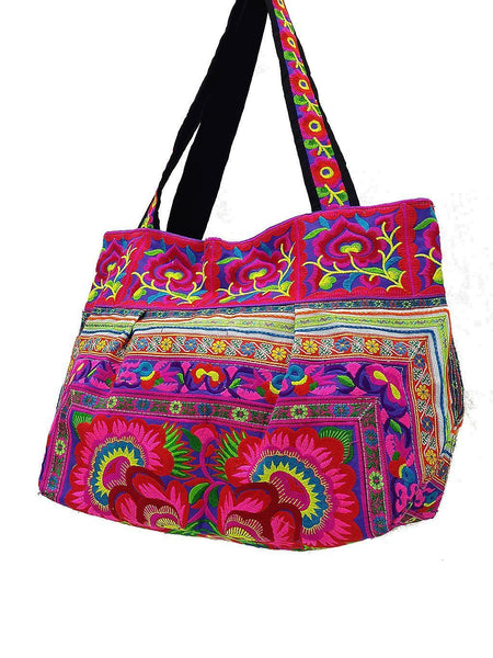 HTB2-4 Thai Hill Tribe Bag Embroidered Ethnic Cotton Bag Tote Bag Shoulder Bag