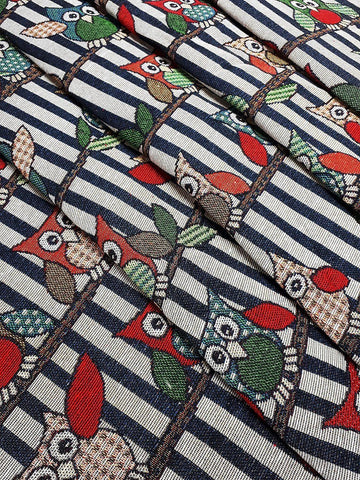 Woven Cotton Fabric Craft Supplies Woven Textile Owl Bird 1/2 yard (WFF225)
