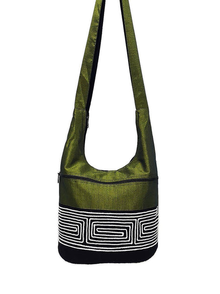 CSB2 - Hobo Boho bag Cotton bag Shoulder bag Sling bag Crossbody bag Green, VeradaShop, HaremPantsThai