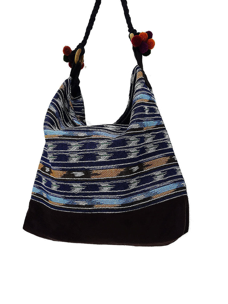 SWP1 - Thai Handmade Woven Cotton Bag Tote Women bag Shoulder bag Pom Pom Strap