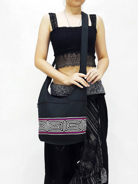 CSB4 - Hobo Boho bag Cotton bag Shoulder bag Sling bag Crossbody bag Black