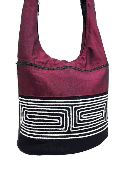 CSB1 - Hobo Boho bag Cotton bag Shoulder bag Sling bag Crossbody bag Dark Red, VeradaShop, HaremPantsThai