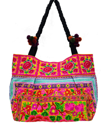 HTB2P1 - Thai Hill Tribe Bag Cotton Bag Embroidered Ethnic Shoulder Bag Flower