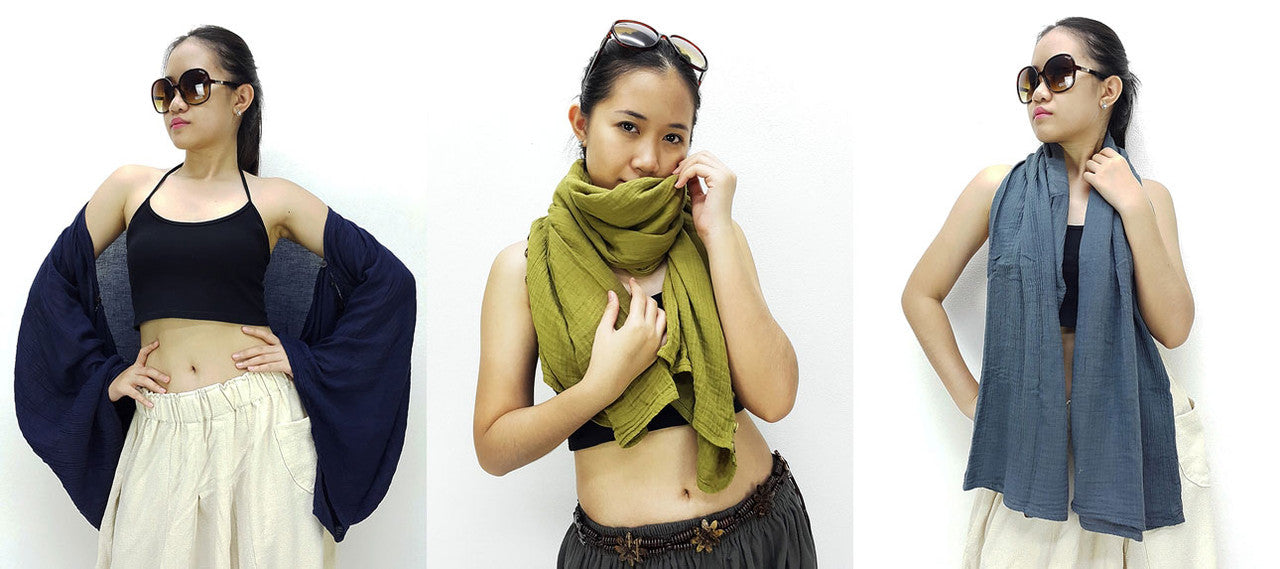 Thai Scarves Shawls Natural Cotton Fabric Convertible Luxury