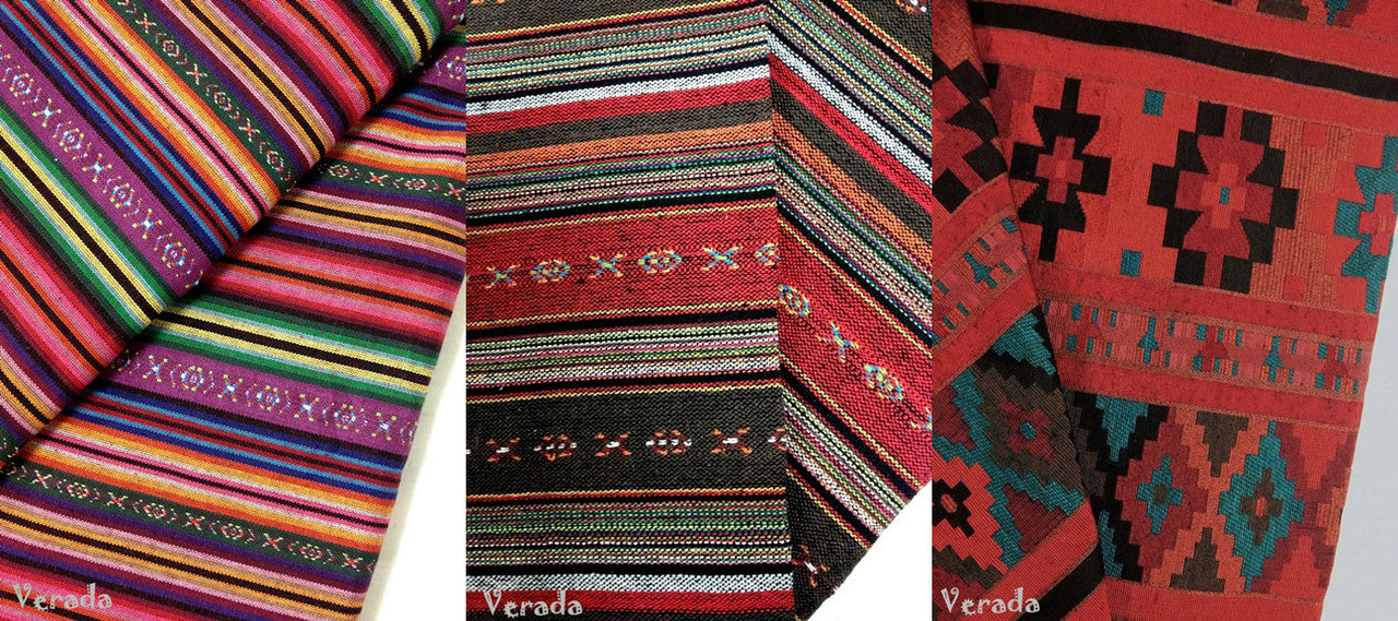 VeradaCraft Thai Woven Natural Cotton Fabric Hill Tribe Aztec