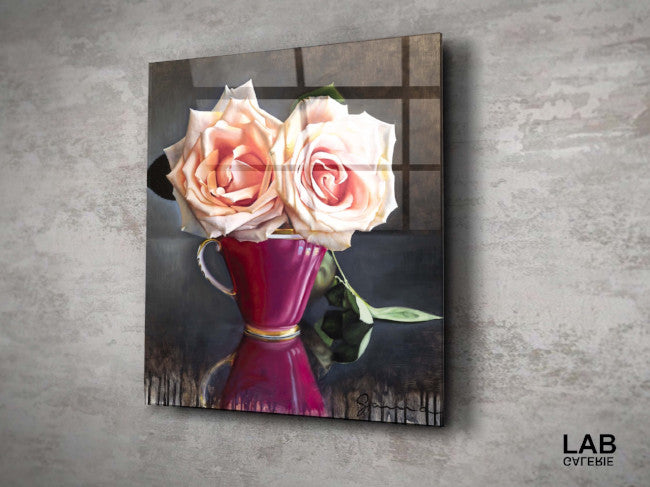 Guy-Anne Massicotte - Tasse Ancienne et Roses VII - Acrylique Glacé - Clear Acrylic - Live Art Business - LAB