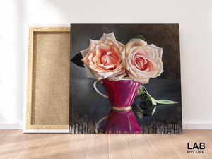Guy-Anne Massicotte - Tasse Ancienne et Roses VII - Impressions sur Toiles - Canvas Prints - Live Art Business - LAB