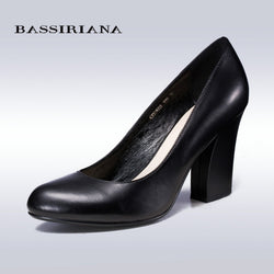 BASSIRIANA 2016 new fashion leather women high heels pumps shoes 35-40 round toe Office&career Classics shoes woman Bestseller