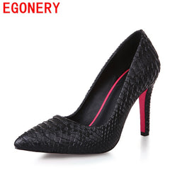EGONERY shoes 2017 hot creative fashion women shoes pointed toe mature high heels pu leather pumps solid elegant party shoes