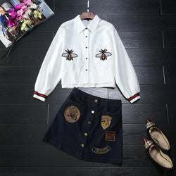 Europe station 2016 autumn fitted with new bee embroidery jacket denim skirt suit