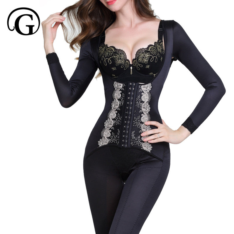 47fbdb5f87947 Full Bodysuit Corset Long Sleeved Full Body Shaper High Elasticity Formula  Gather Breast Care Seamless Body