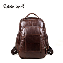 Cobbler Legend Brand 2017 RetroStyle Charming Head Layer Cow Leather Teenage Boys's Men 's Laptop Bag Backpack For Men 7101805-1