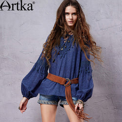 Artka Women's Spring Retro Ethnic Delicate Embroidery Loose A-Line Long Lantern Sleeve Tassels Cotton Shirt SA14351C