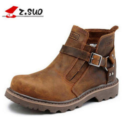 Handmade Cowhide genuine leather men boots working boots platform buckle fashion men shoes