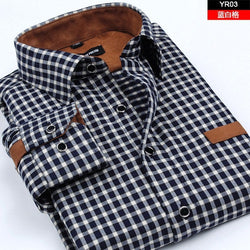 HQ 2016 men's clothing slim long-sleeve thickening cashmere patchwork shirt classic plaid casual shirt camisa masculina non-iron