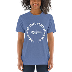 """Adventures start where plans end!"" Short sleeve t-shirt"