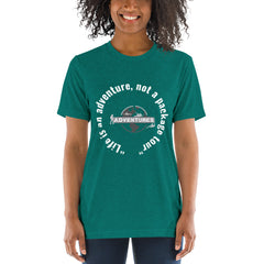 """Life is an adventure, not a package tour"" Short sleeve t-shirt"