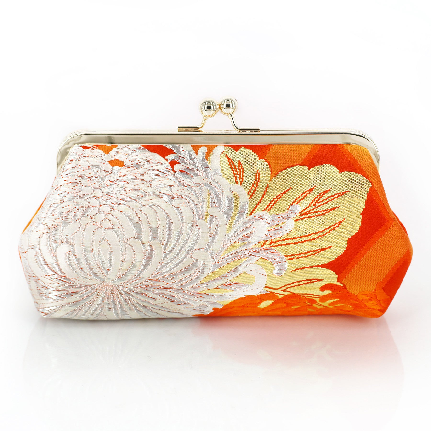 Vintage Story Flower Japanese Chrysantemum 2 Heritage Refashioned Sustainable Fashion Clutches Kimono Kwa Chrysanthemum Kiku Orange Clutch Upcycled From