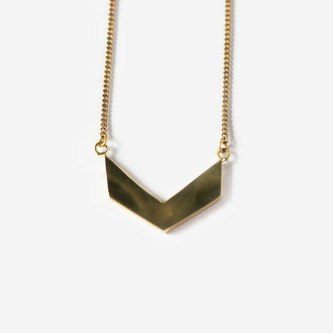 Angle Brass Pendant Necklace