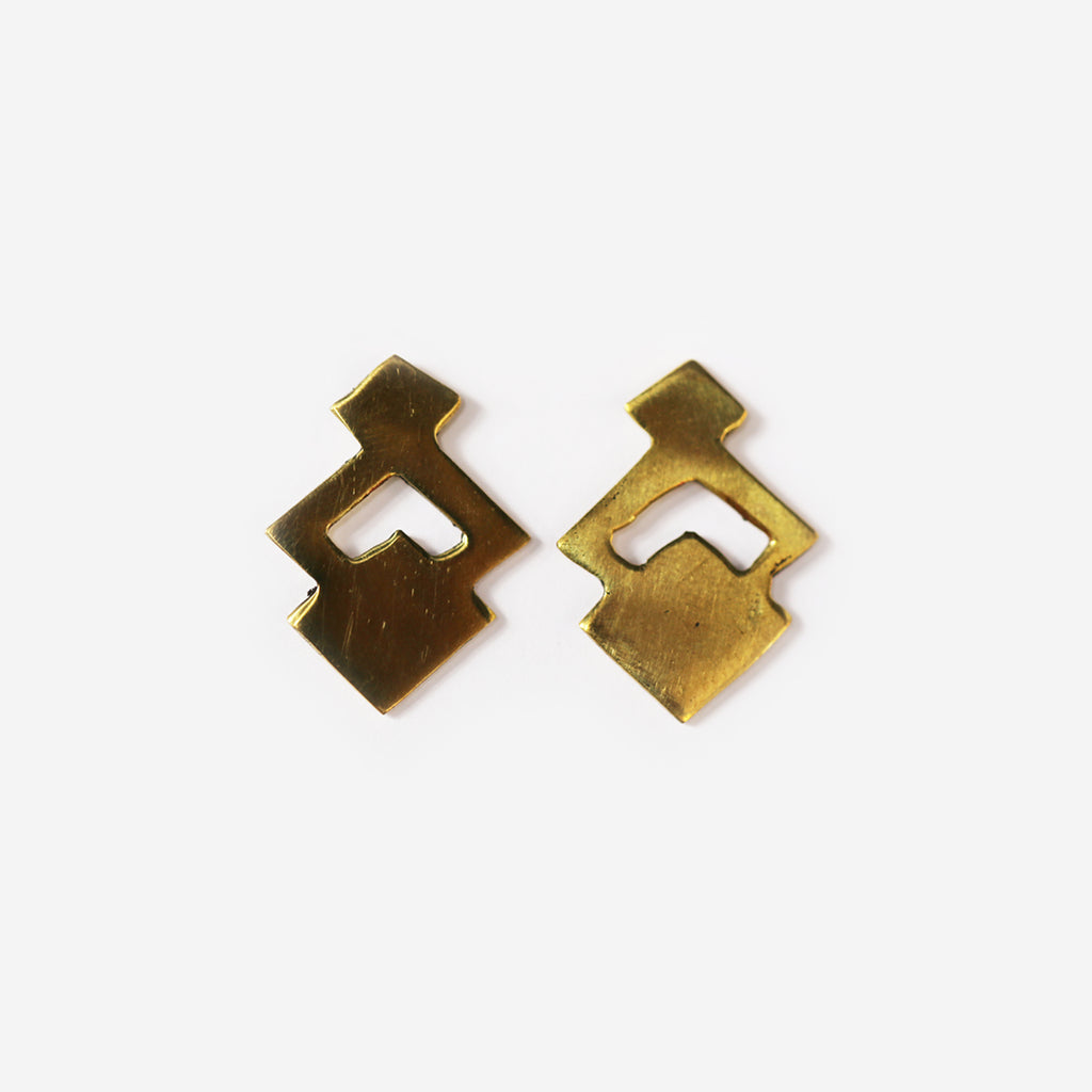 Amara Brass Stud Earrings
