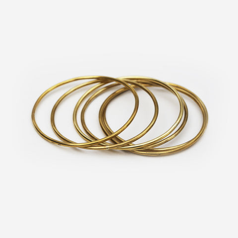 Thin Brass Bangle Bracelet Set of 3
