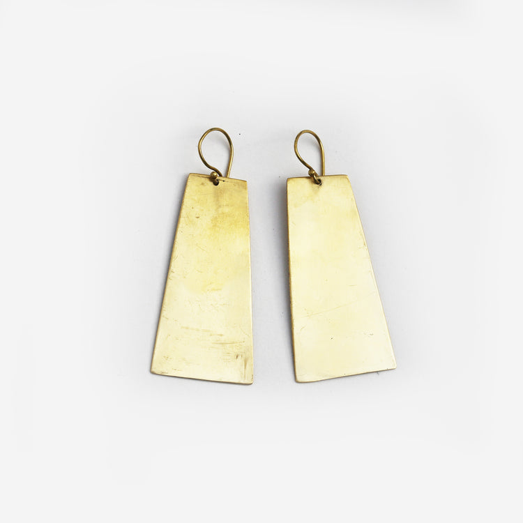 Shield Brass Earrings