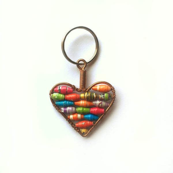 Paper Bead Heart Keychain
