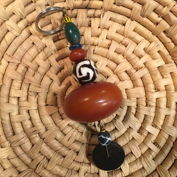 Amber Beaded Keychain