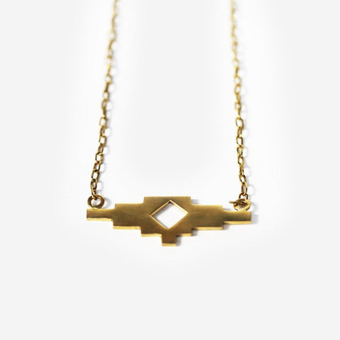 Jela Pendant Brass Necklace