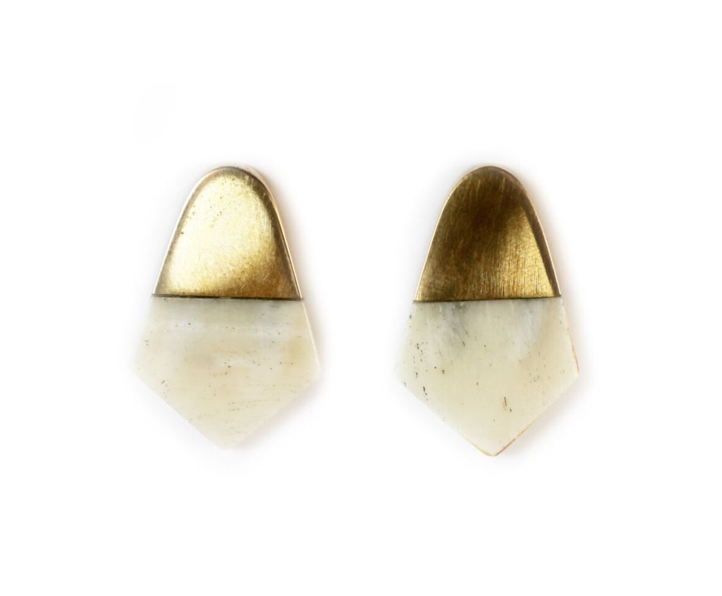 Mari Spear Brass and Bone Earrings