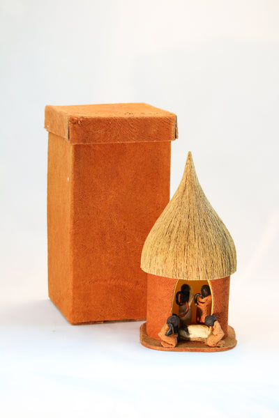 Bark Cloth Nativity Box