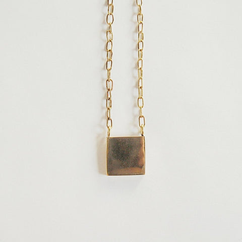 Fair Trade Square Pendant Brass Necklace