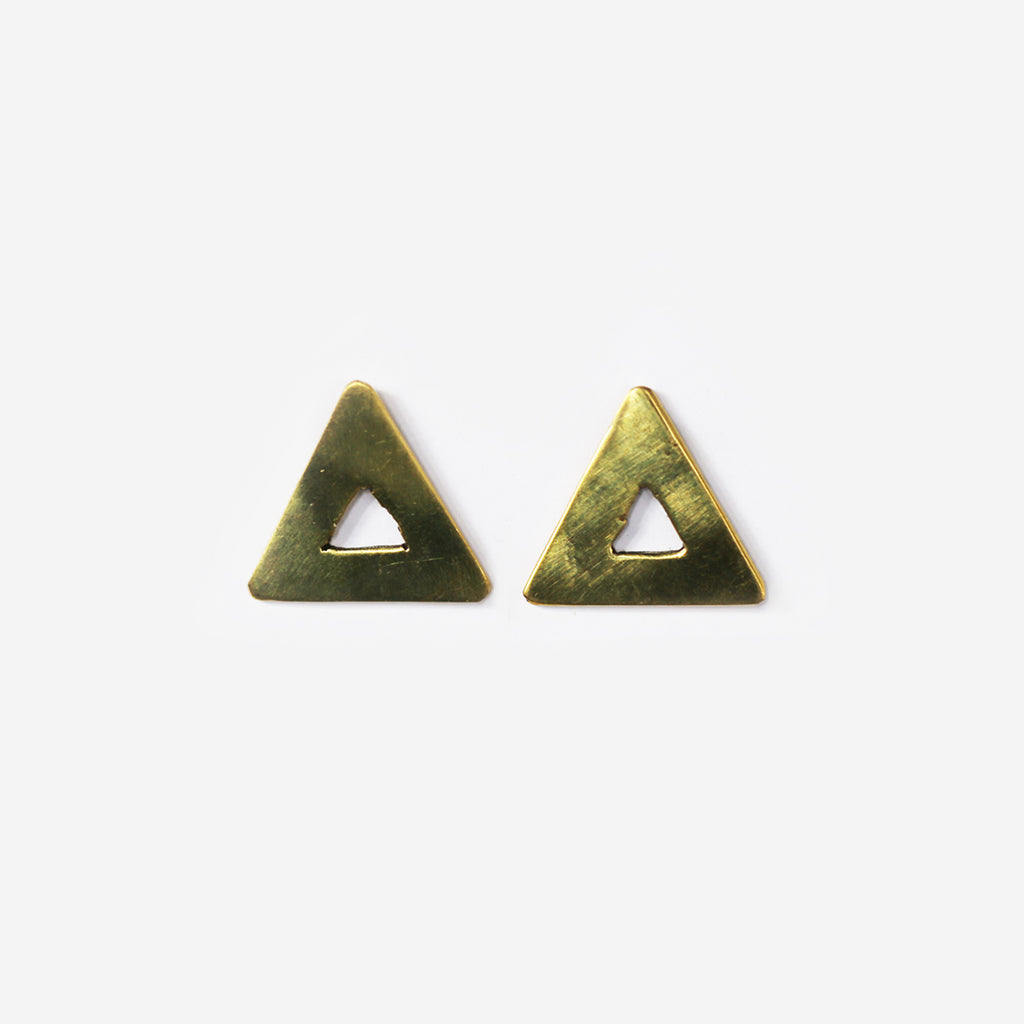 Triangle Brass Stud Earrings