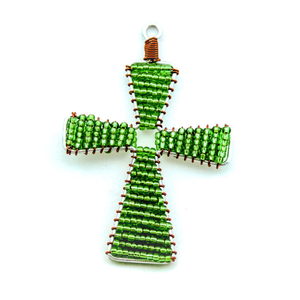 Glass Bead Cross Ornament