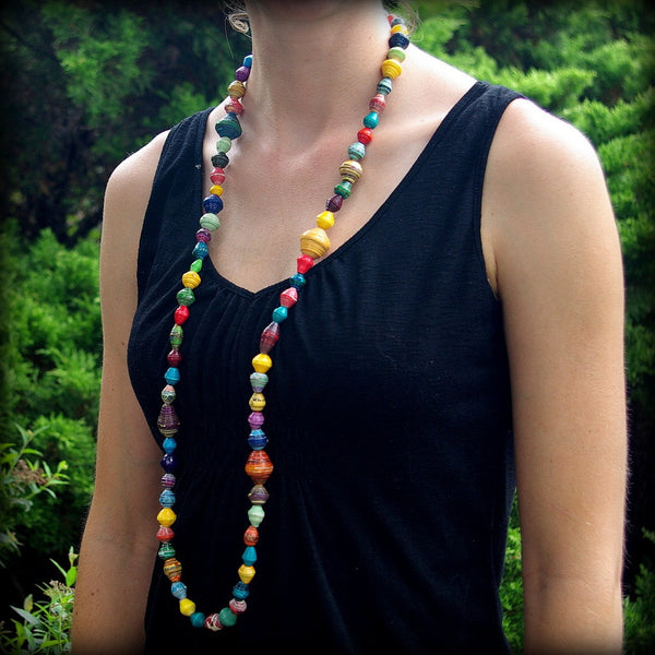 KANZI Recycled Paper Bead Necklace