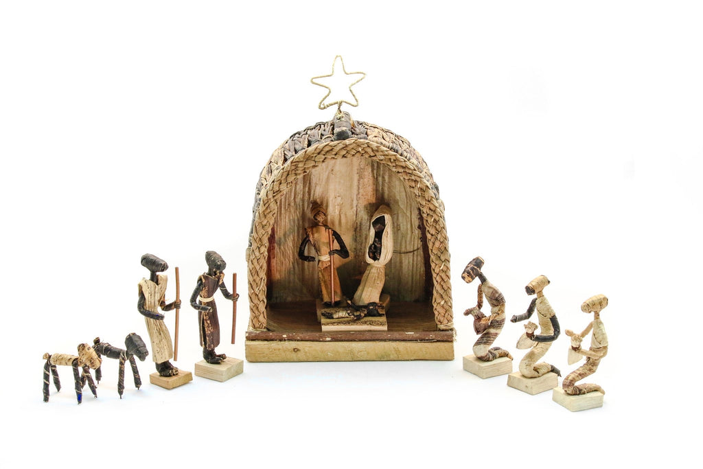 Banana Fiber Nativity Hut Set