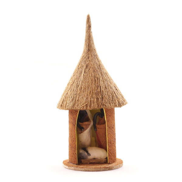 Bark Cloth Hut Nativitiy Ornament Holy Family Uganda Africa