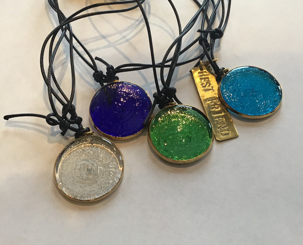 Recycled Glass Round Necklace (with no charm attached)