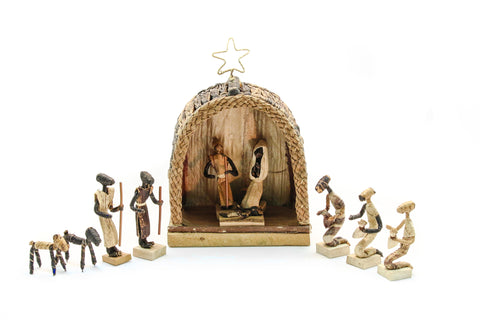 Natural Banana Fiber African Nativity Set
